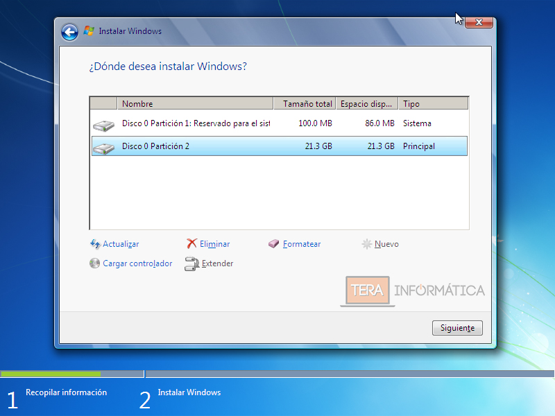 Particiones Windows 7