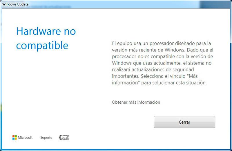 Windows 7 Hardware no compatible