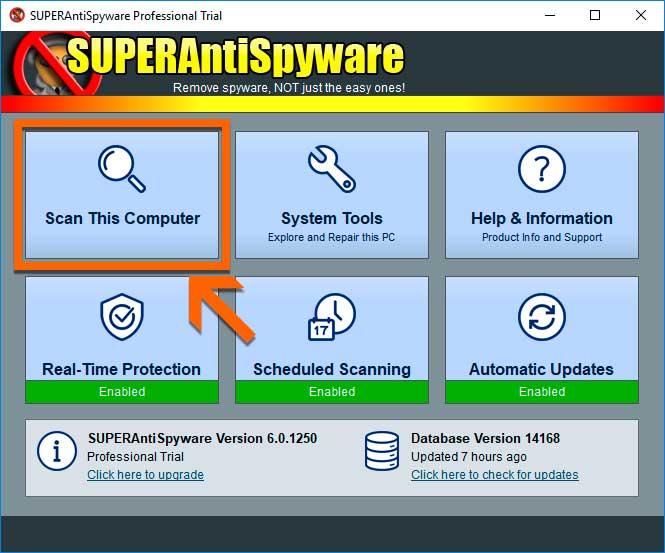 SUPERAntiSpyware Escanear pc