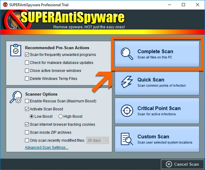 SUPERAntiSpyware Complete Scan