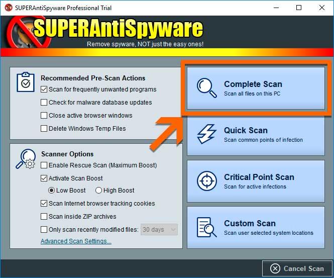 SUPERAntiSpyware Complete Scan
