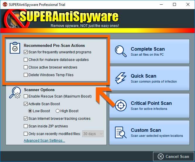 SUPERAntispyware Pre Scan